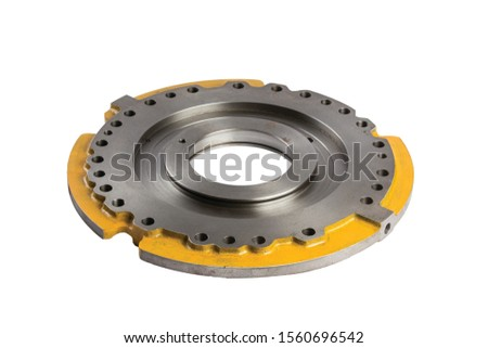 Spare parts for construction machinery on the white background