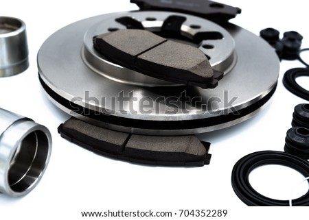 Spare Parts of disk brake pads, disc brake caliper piston, disk brake repair kIt and rotating brake disk. #704352289