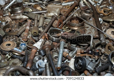 Spare parts scrap,Used spare parts wait for get rid or sell to recycle,Nuts Bolts. #709124833