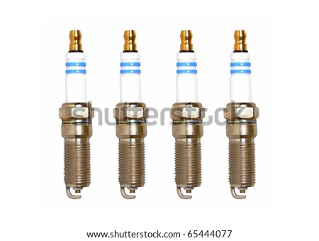 Spark plugs on a white background