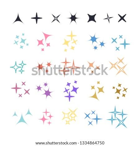 Sparkle lights stars set. Glowing light effect star. Sparkle lights