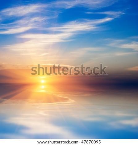 sparkle sun above a water