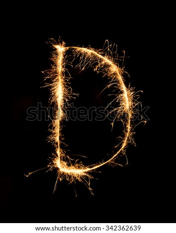 6310f48e3c Sparkler firework light alphabet D (Capital Letters) at night background   342362639