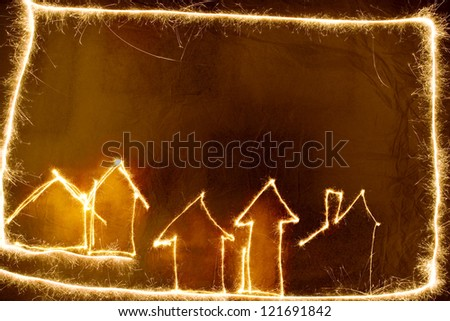 Sparkler house background in red and black
