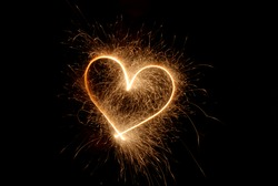Sparklers heart, Using a camera with a slow shutter speed