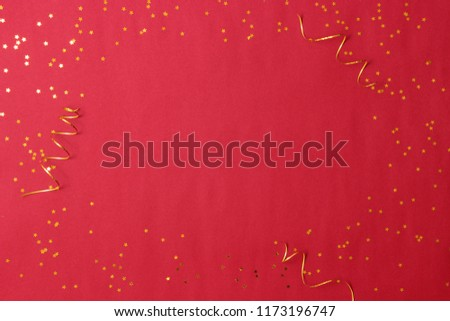 sparkles confetti and frame for inserting text on a colored background top view. Minimalism, design, insta, holiday. flatlay #1173196747