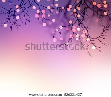 Stock Photo Sparkles on branches of tree. Blurred purple background. Festive texture. Holiday night background.