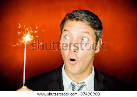sparkles surprised man