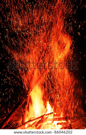 Sparkling campfire with black background