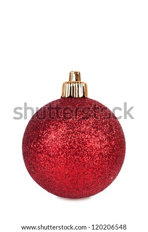 Sparkling christmas sphere isolated over white background