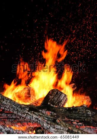 Sparkling flame of a bonfire