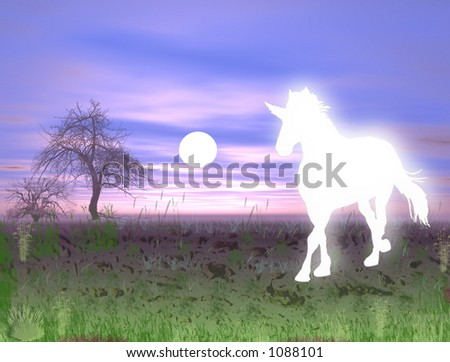 sparkling ,glowing unicorn in the nature