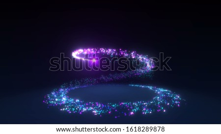Sparkling neon glitter spiral effect. Shining Christmas magic particles and sparkles circles on black background. Luxury magic festive effect with bokeh and glow. 3D Dust trail in Ultra HD 4K stock photo