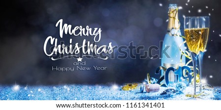 Sparkling New Year background. Champagne Explosion With Toast Of Flutes #1161341401