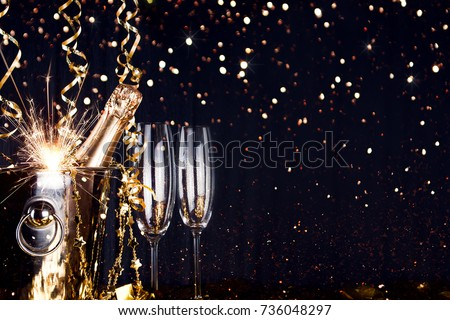 Sparkling New Year background. Champagne Explosion With Toast Of Flutes #736048297