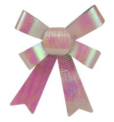 Sparkling pink greenish gift bow decoration isolated on white background