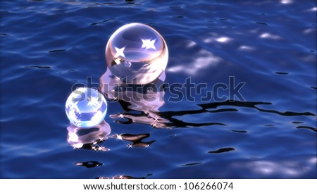 Sparkling spheres in water - stock photo