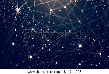 Sparkling starry plexus net texture on black background. Poligonal pattern. Cosmic matrix abstract 3d illustration.  Сток-фото ©