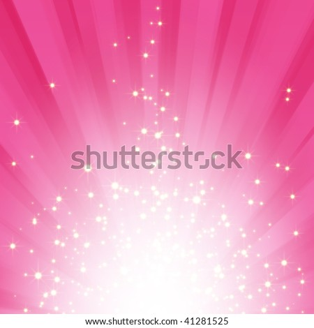 Sparkling stars on pink magenta light burst background