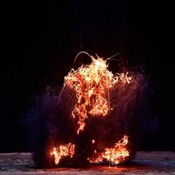 Sparkling steel wool on fire