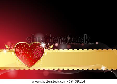 Sparkling strawberry card with golden ribbon