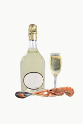 sparkling white wine with scampi crustacean
