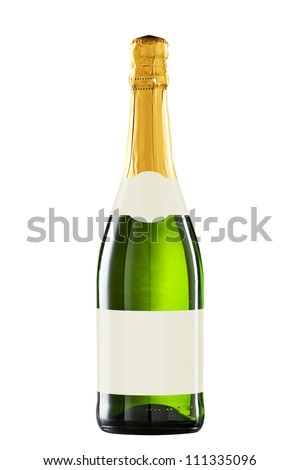 Sparkling wine bottle isolated with blank label for your text or logo.Clipping path included