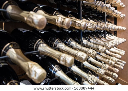 Sparkling Wine Bottles in rack