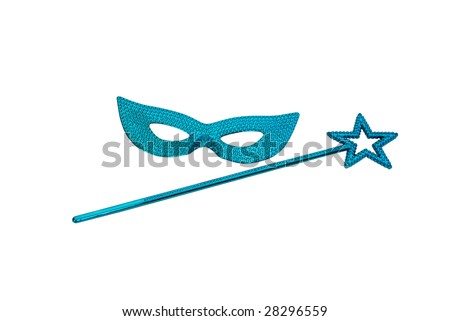 Sparkly gemmed mask and star wand with possible magical abilities - Path included