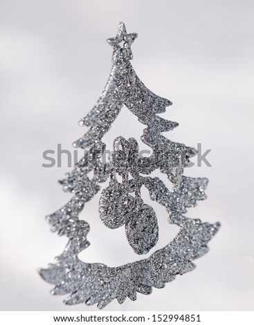 Sparkly glitter Christmas trees in silver