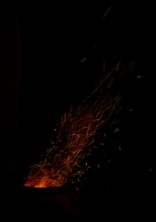 Sparks and Embers flying off a wood fire oven