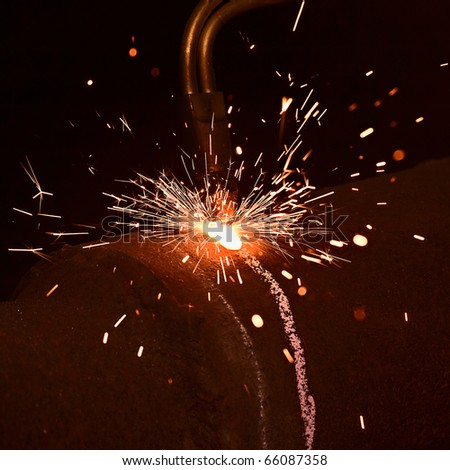 Sparks during gas welding works