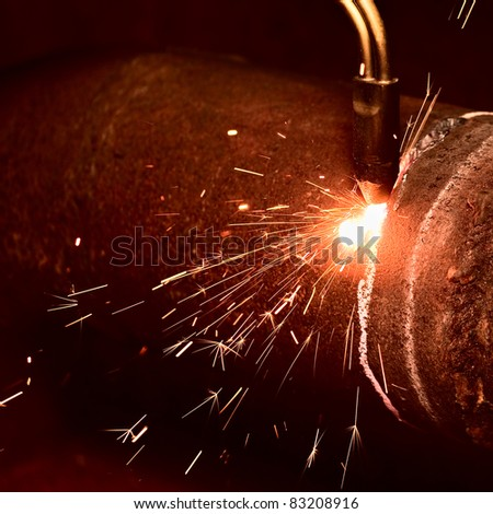 Sparks during the gas welding