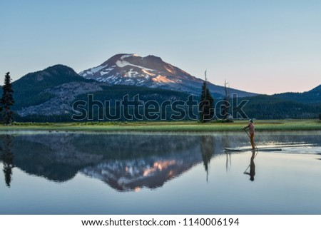 Sparks Lake in Central Oregon near Bend is a popular recreational destination for sports enthusiasts  #1140006194