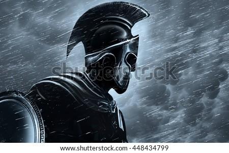 Spartan warrior in the rain