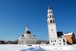 Spaso-Preobrazhensky Cathedral in the city and Nevyansk leaning tower
