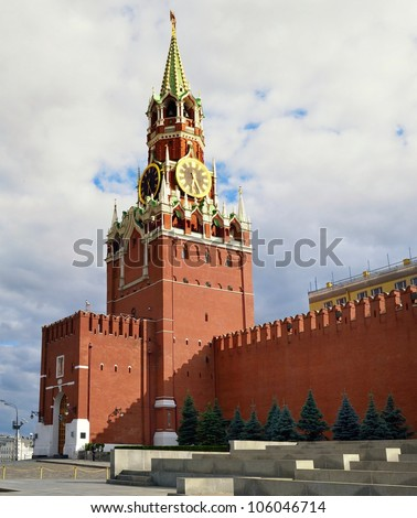 Spasskaya tower in Kremlin on Red Square (Moscow, Russia)