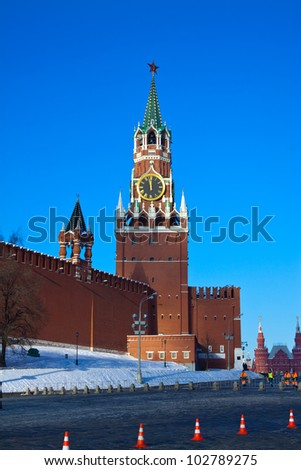 Spasskaya Tower of Moscow Kremlin at Red Square in Moscow. Russia