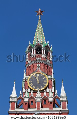 Spasskaya tower of the Kremlin in Moscow