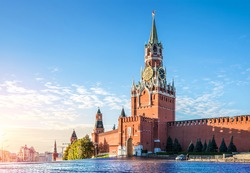 Spasskaya tower of the Kremlin in the early autumn morning on the Red Square in Moscow