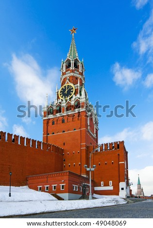 Spassky Tower of Moscow Kremlin clock chimes - stock photo