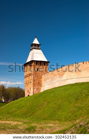 Spassky tower of the 15th eyelid in the Kremlin Veliky Novgorod