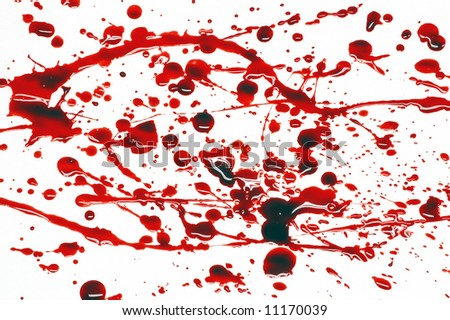 Spattering of blood on a white background - stock photo