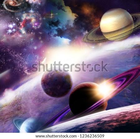 spazio incredibilmente bello e il suo spazio con stelle, pianeti e asteroid Photo stock ©