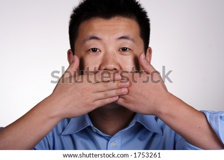 Speak no evil - asian guy.