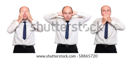 Speak no evil, see no evil and hear no evil. Three monkey concept. Senior businessman on white background.