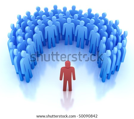 Speaker and group of people - 3D concept - stock photo
