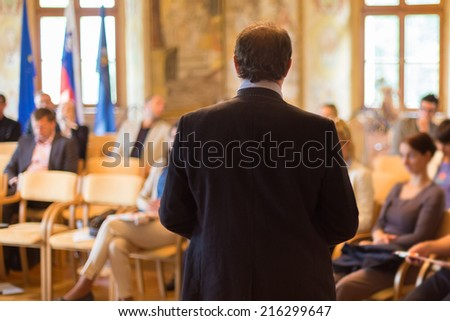 Speaker at Business Conference and Presentation. Audience at the conference hall. #216299647