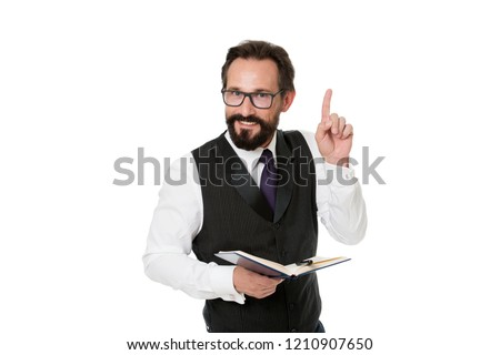 Speaker business conference isolated white. Man formal clothes hold notepad white explain business topic. Business school concept. Expert eyeglasses smart teacher. Business academy lecturer.