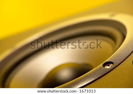 Speaker close up with yellow cast